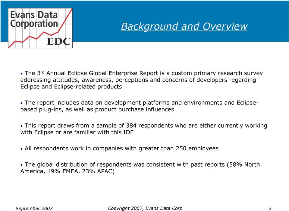 purchase influences This report draws from a sample of 384 respondents who are either currently working with Eclipse or are familiar with this IDE All respondents work in