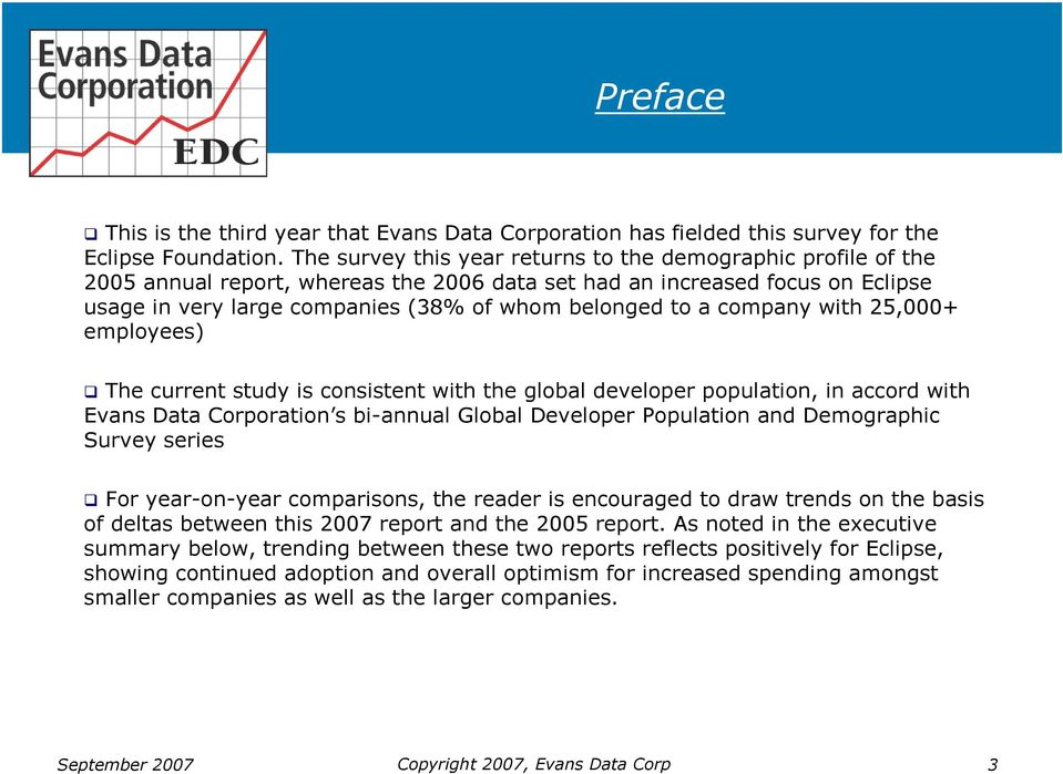 company with 25,000+ employees) The current study is consistent with the global developer population, in accord with Evans Data Corporation s bi-annual Global Developer Population and Demographic