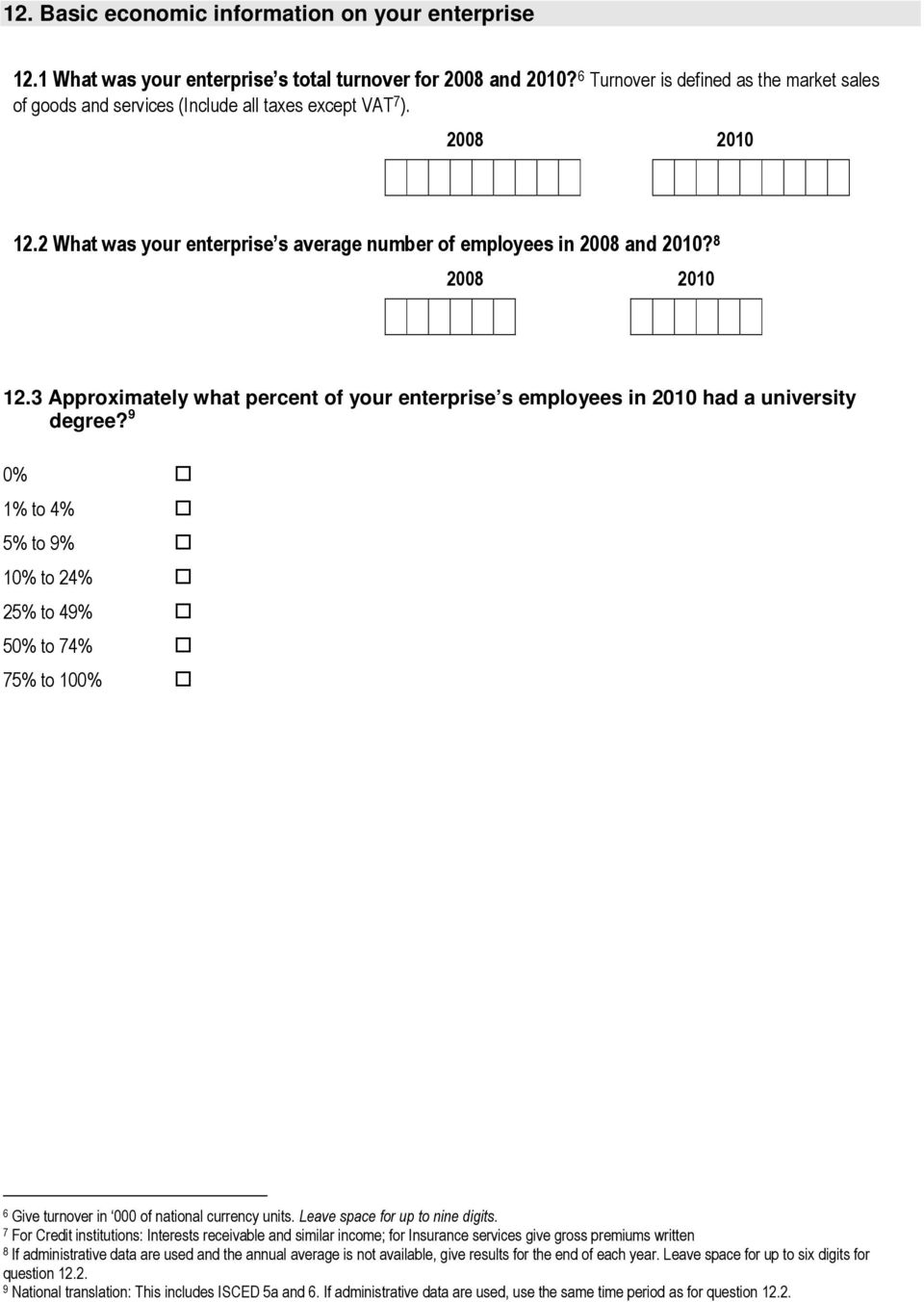 8 2008 2010 12.3 Approximately what percent of your enterprise s employees in 2010 had a university degree?