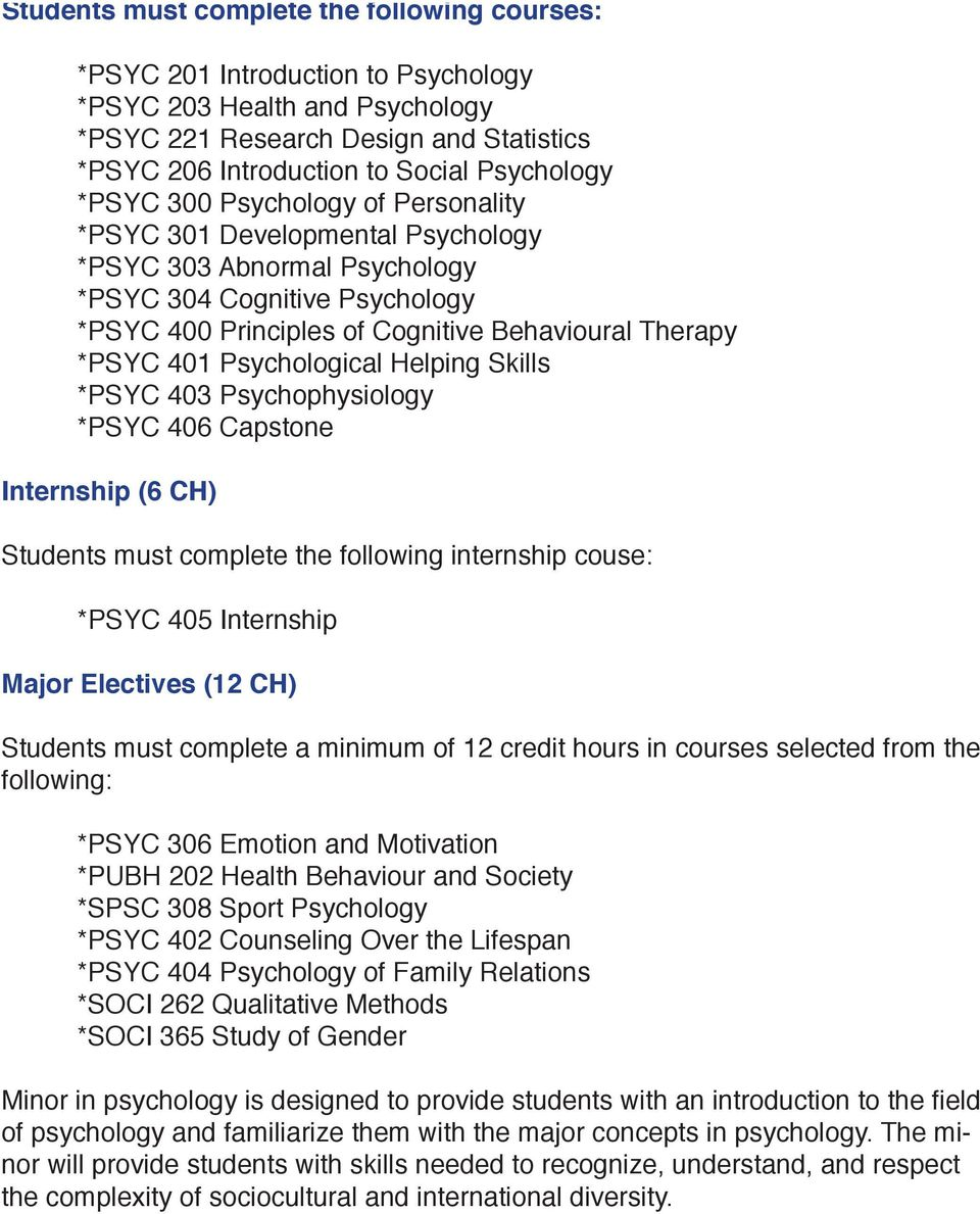Psychological Helping Skills *PSYC 403 Psychophysiology *PSYC 406 Capstone Internship (6 CH) Students must complete the following internship couse: *PSYC 405 Internship Major Electives (12 CH)