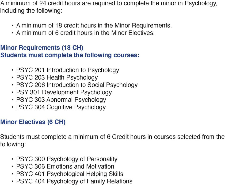 Minor Requirements (18 CH) Students must complete the following courses: PSYC 201 Introduction to Psychology PSYC 203 Health Psychology PSYC 206 Introduction to Social Psychology PSY