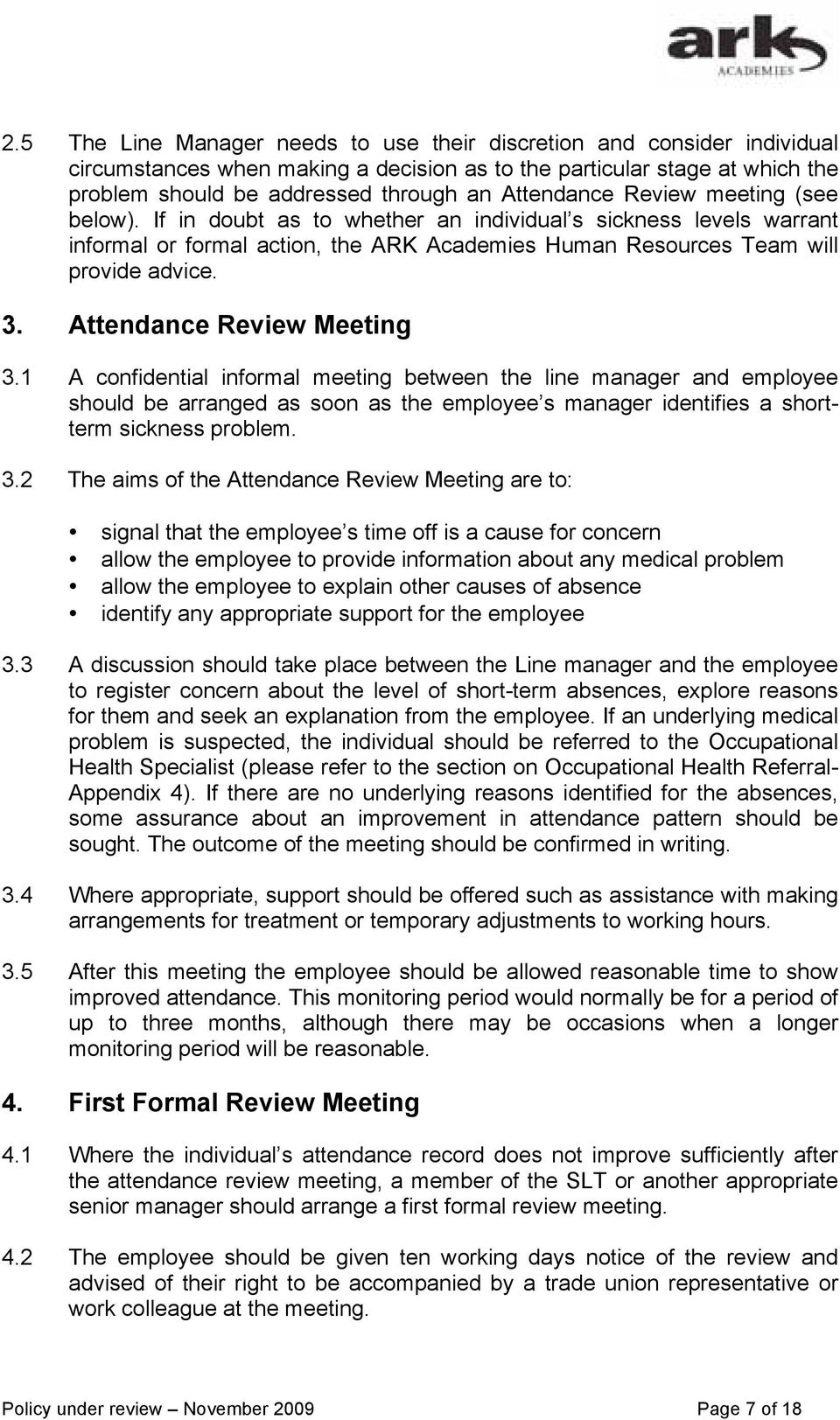Attendance Review Meeting 3.
