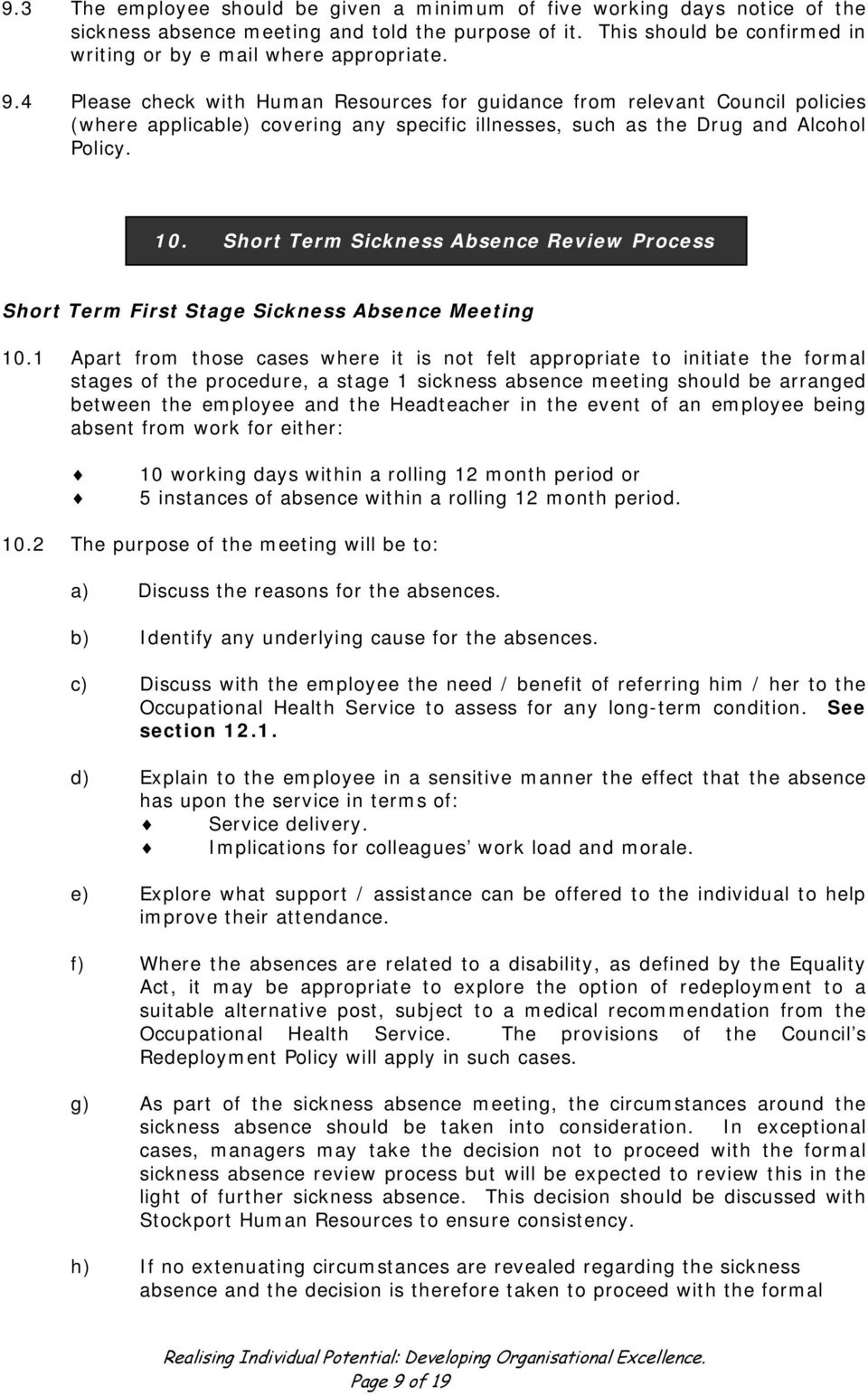 Short Term Sickness Absence Review Process Short Term First Stage Sickness Absence Meeting 10.