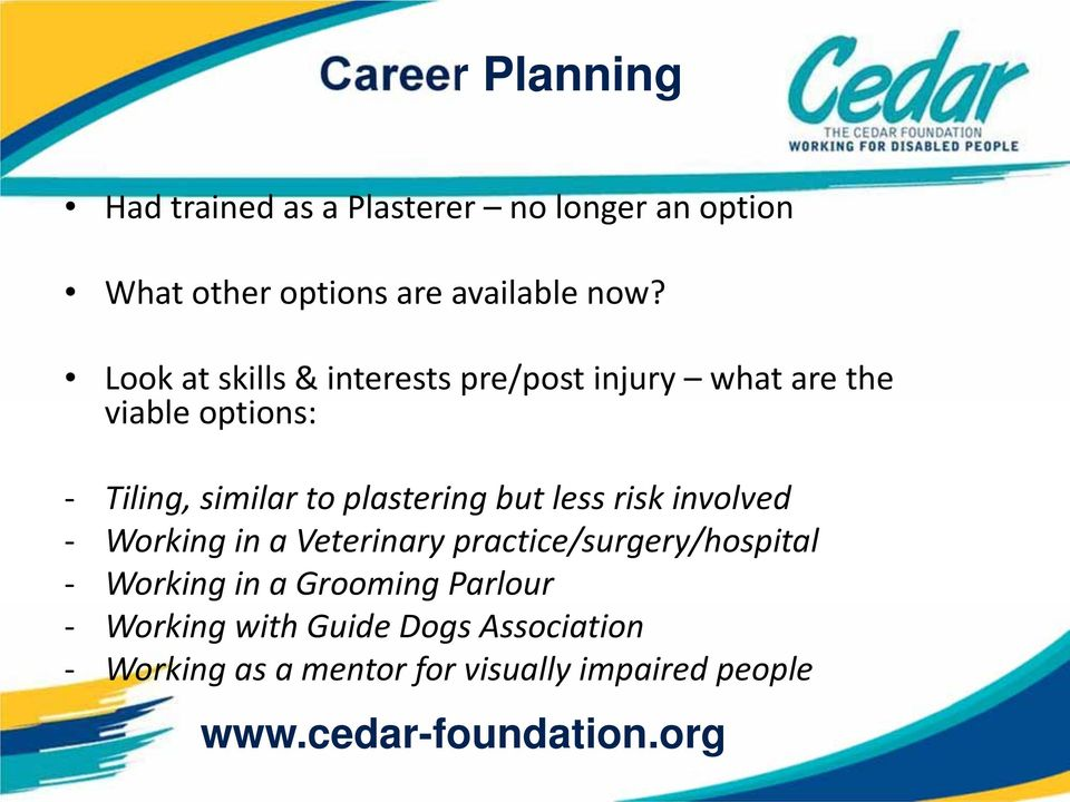plastering but less risk involved Working in a Veterinary practice/surgery/hospital Working in a