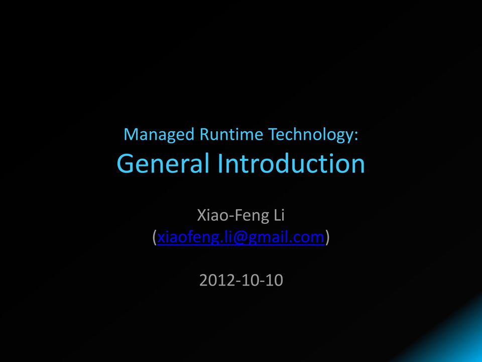 Introduction Xiao-Feng