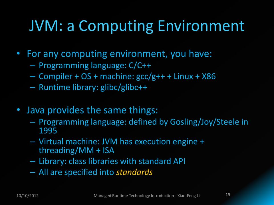 defined by Gosling/Joy/Steele in 1995 Virtual machine: JVM has execution engine + threading/mm + ISA Library: class