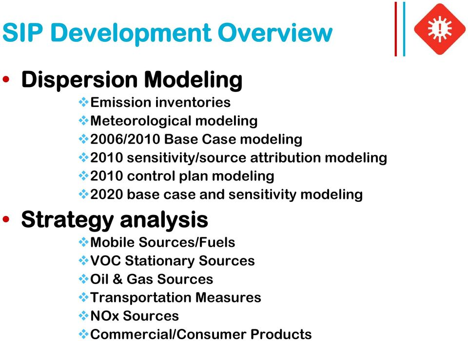 modeling 2020 base case and sensitivity modeling Strategy analysis Mobile Sources/Fuels VOC