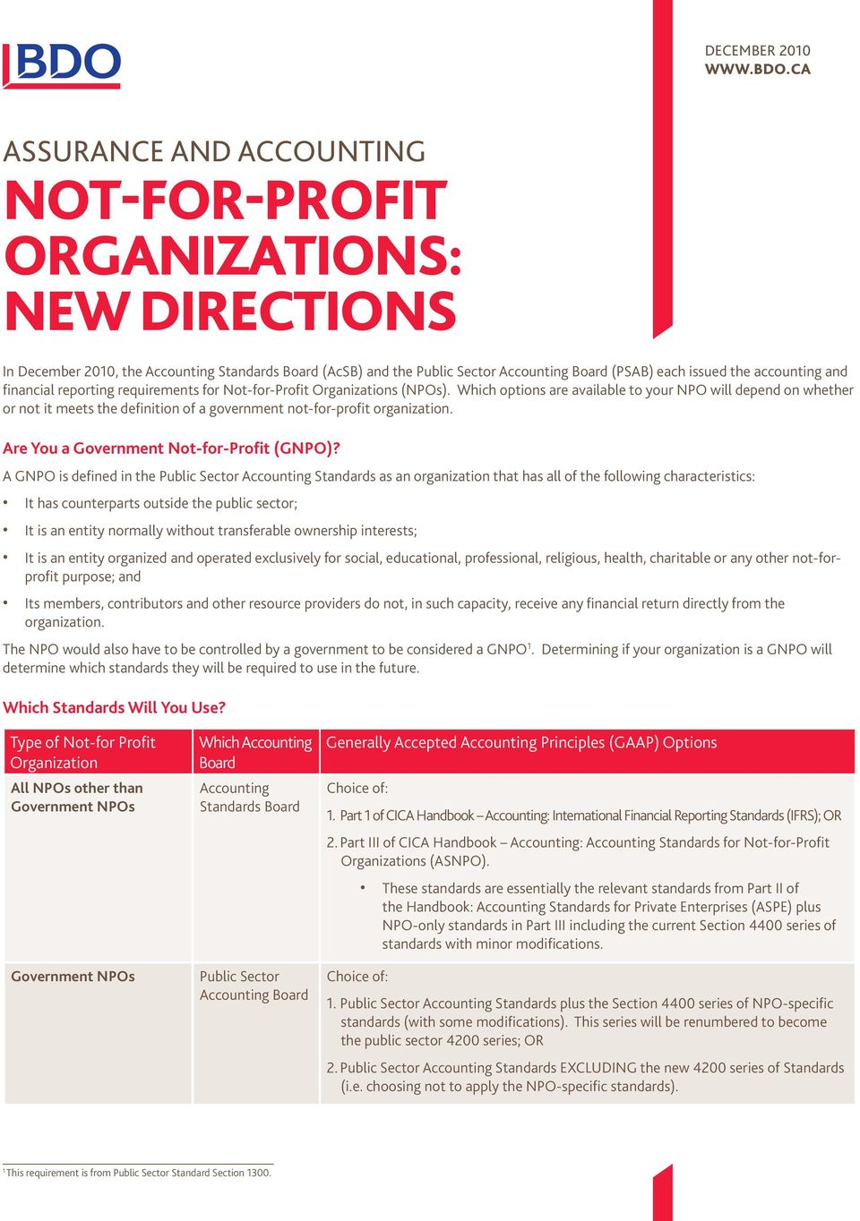 accounting and financial reporting requirements for Not-for-Profit Organizations (NPOs).