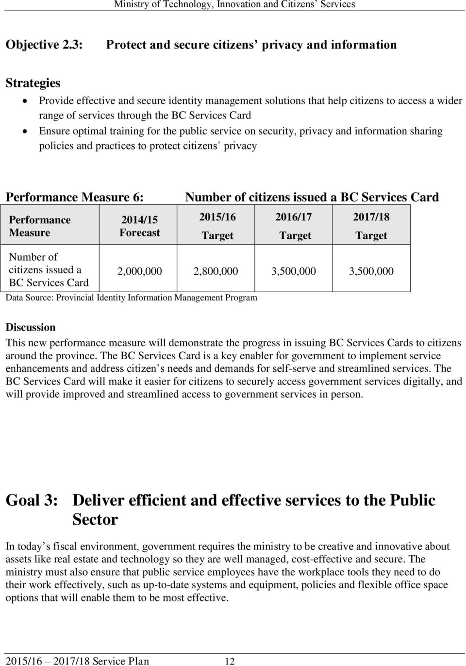 Services Card Ensure optimal training for the public service on security, privacy and information sharing policies and practices to protect citizens privacy Performance Measure 6: Performance Measure