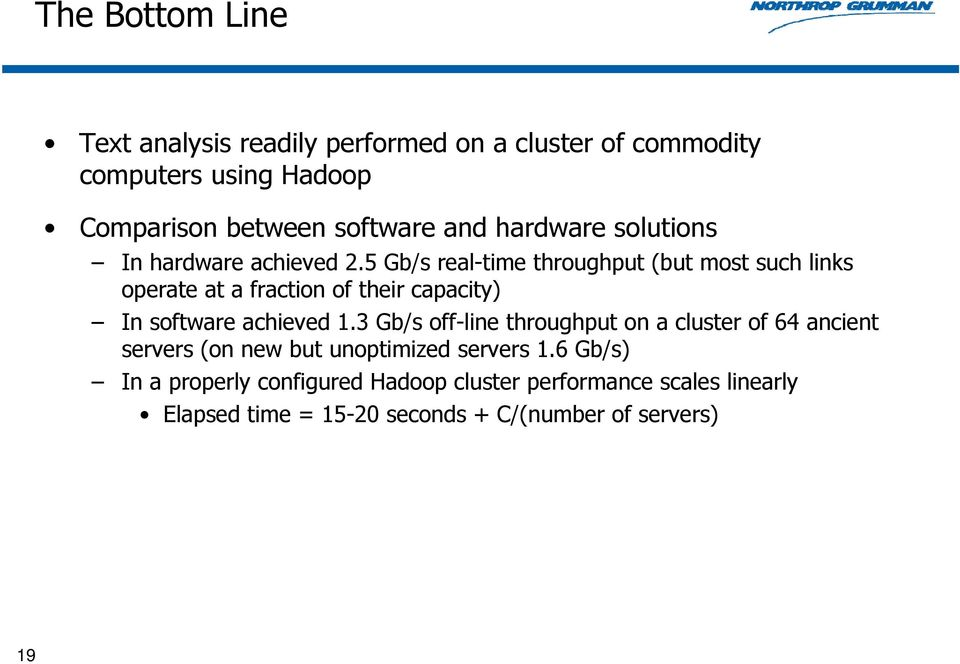 5 Gb/s real-time throughput (but most such links operate at a fraction of their capacity) In software achieved 1.