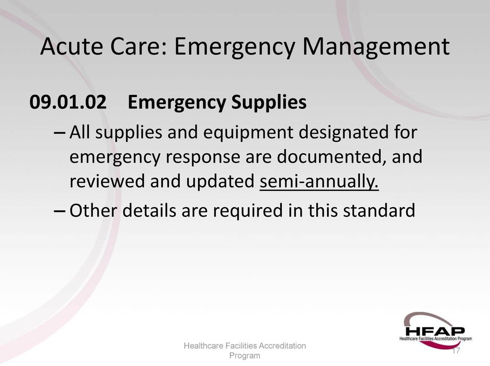 equipment designated for emergency response are