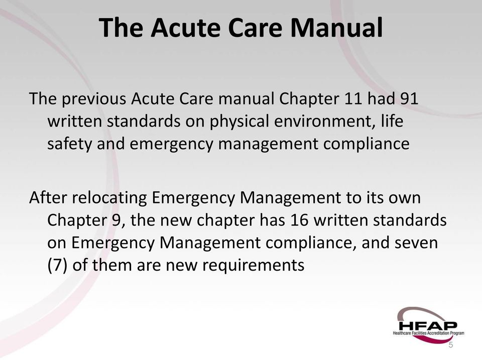 After relocating Emergency Management to its own Chapter 9, the new chapter has 16
