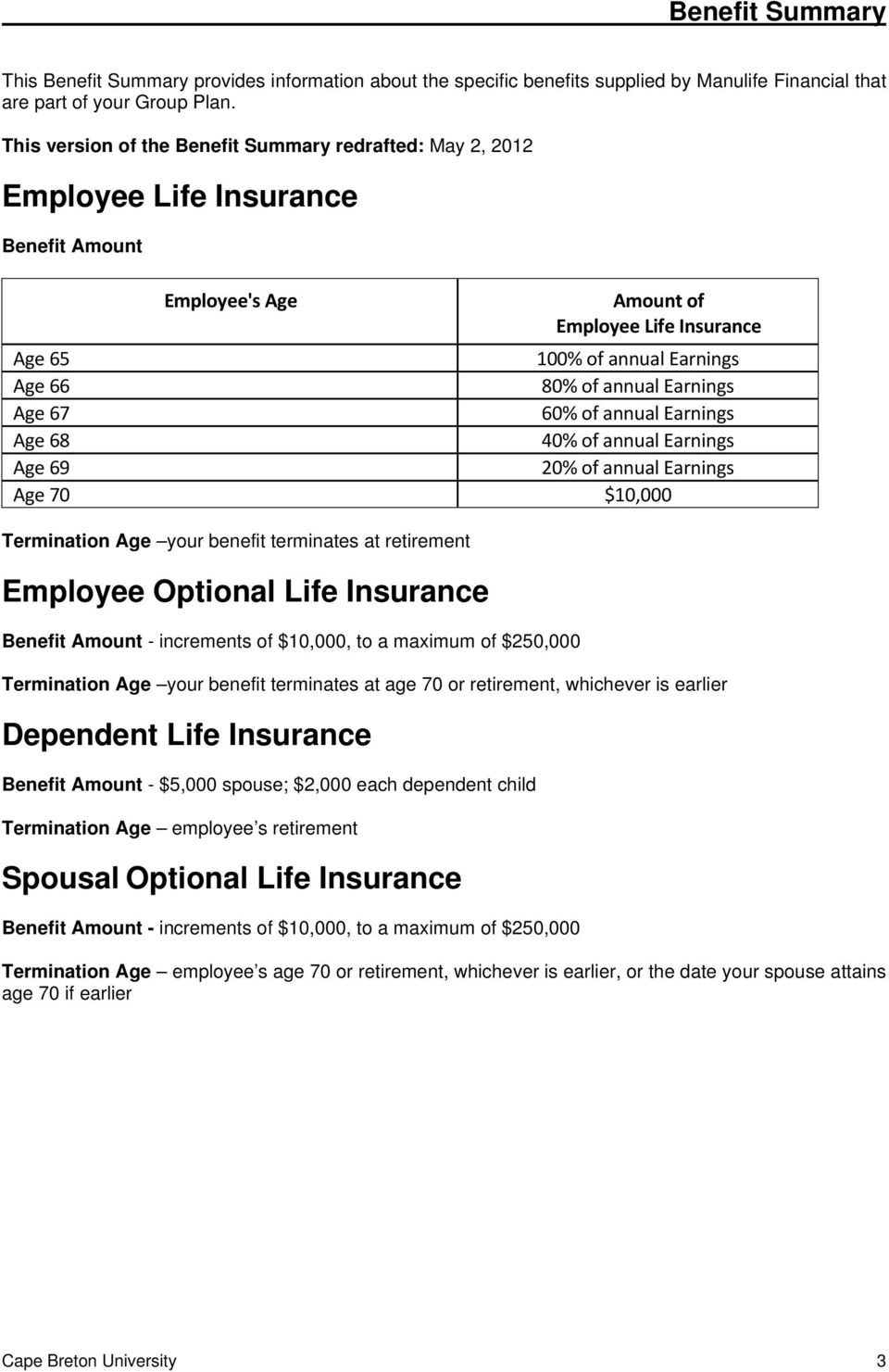 Earnings Age 67 60% of annual Earnings Age 68 40% of annual Earnings Age 69 20% of annual Earnings Age 70 $10,000 Termination Age your benefit terminates at retirement Employee Optional Life