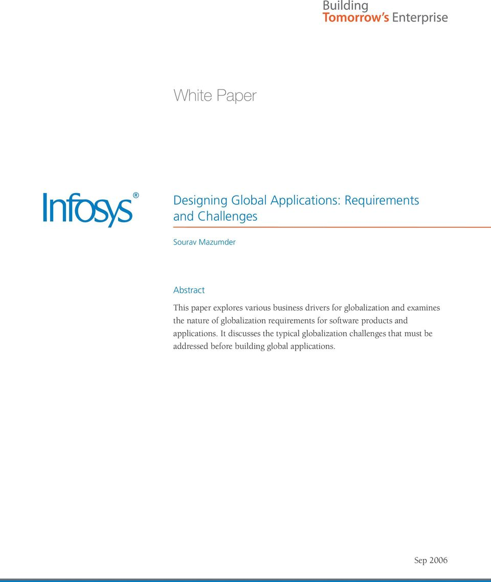 globalization requirements for software products and applications.