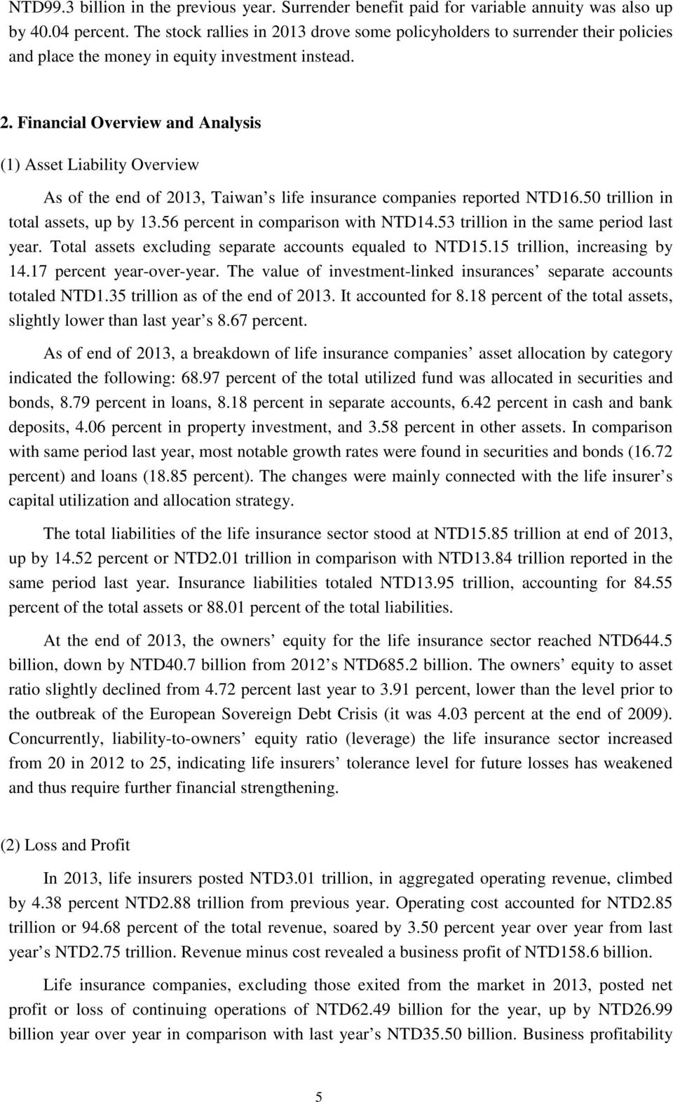50 trillion in total assets, up by 13.56 percent in comparison with NTD14.53 trillion in the same period last year. Total assets excluding separate accounts equaled to NTD15.