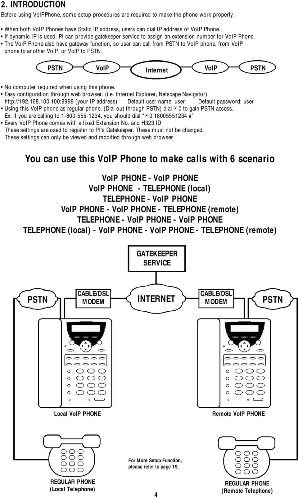 The VoIP Phone also have gateway function, so user can call from PSTN to VoIP phone, from VoIP phone to another VoIP, or VoIP to PSTN PSTN VoIP VoIP PSTN Internet No computer required when using this