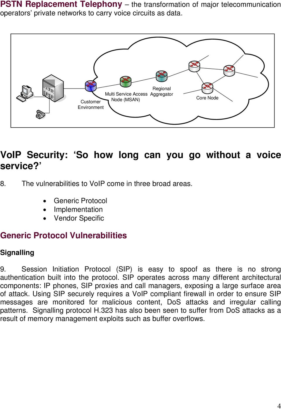 The vulnerabilities to VoIP come in three broad areas. Generic Protocol Implementation Vendor Specific Generic Protocol Vulnerabilities Signalling 9.