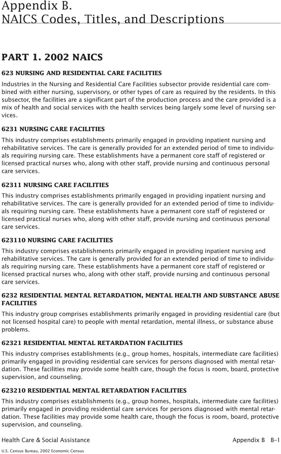 types of care as required by the residents.