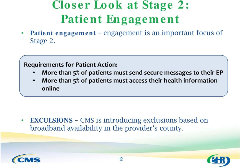 Requirements for Patient Action: More than 5% of patients must send secure messages to their