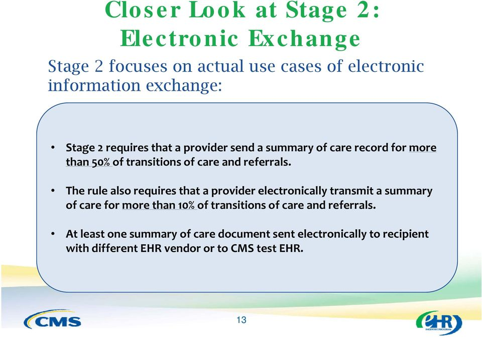The rule also requires that a provider electronically transmit a summary of care for more than 10% of transitions of care