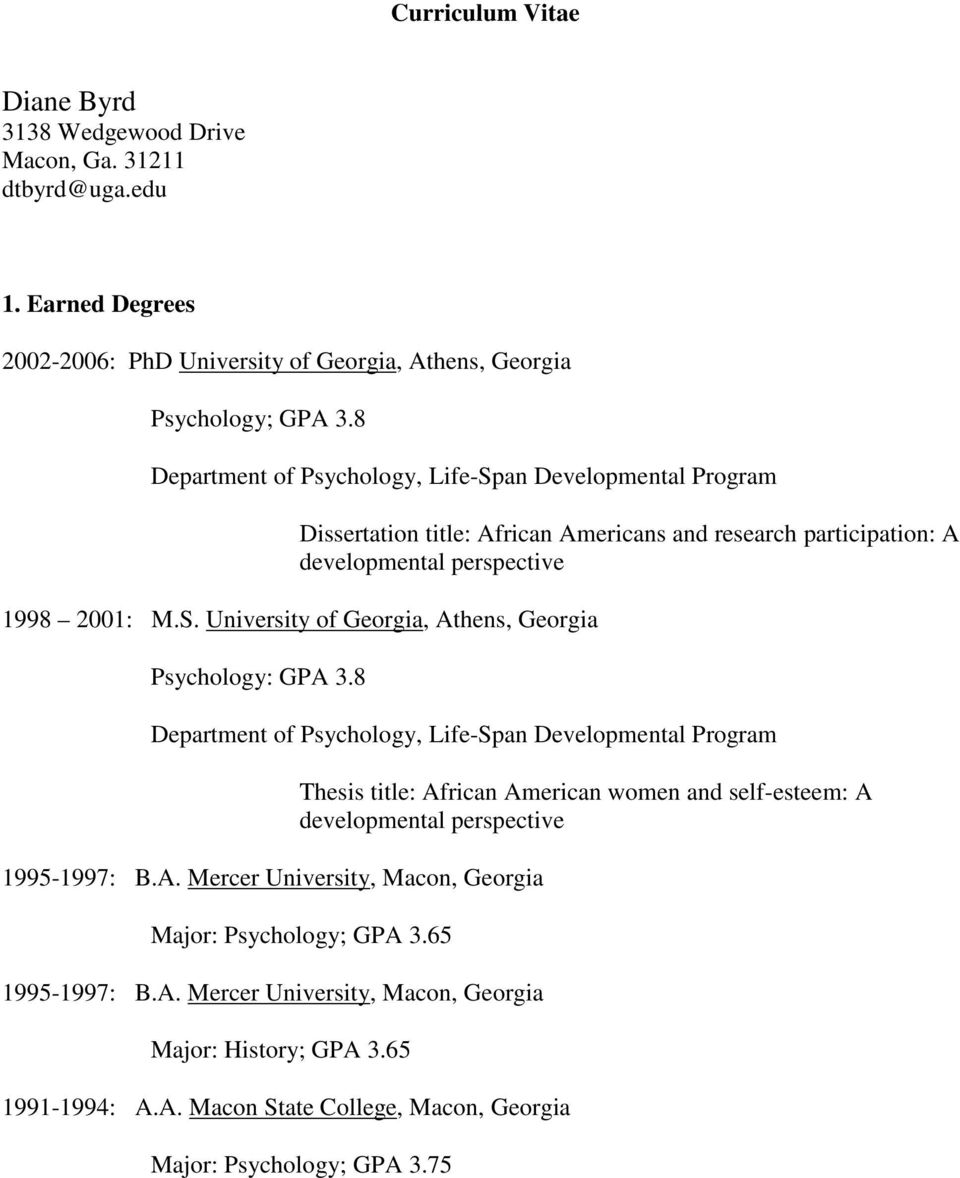 8 Department of, Life-Span Developmental Program 1995-1997: B.A.