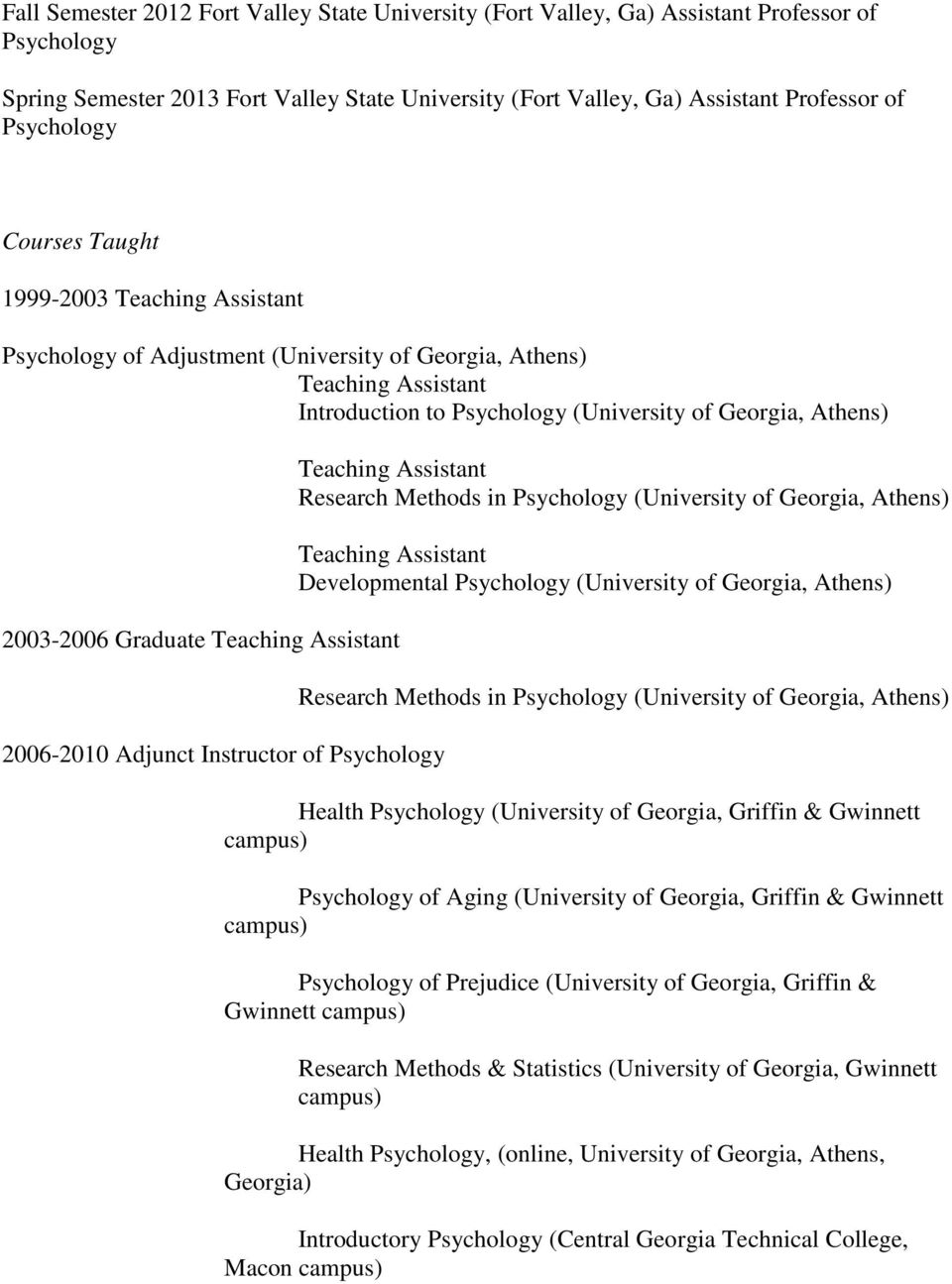 Instructor of Teaching Assistant Research Methods in (University of Georgia, Athens) Teaching Assistant Developmental (University of Georgia, Athens) Research Methods in (University of Georgia,
