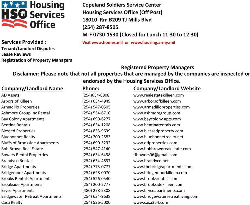 mil Registered Property Managers Disclaimer: Please note that not all properties that are managed by the companies are inspected or endorsed by the Housing Services Office.