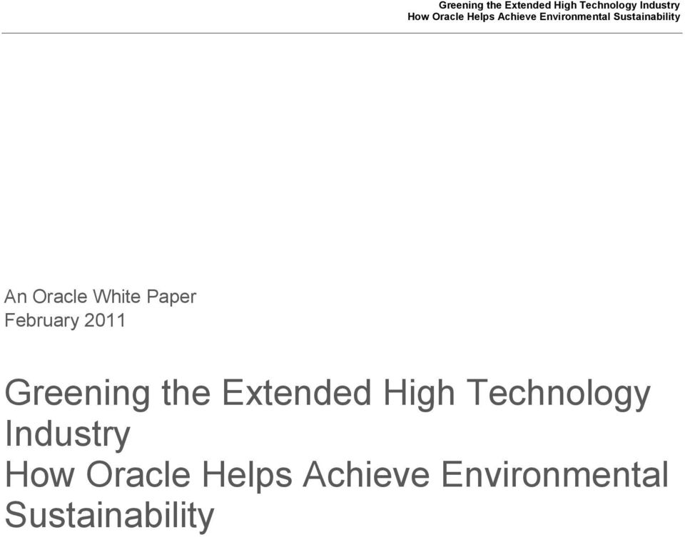Technology Industry How Oracle