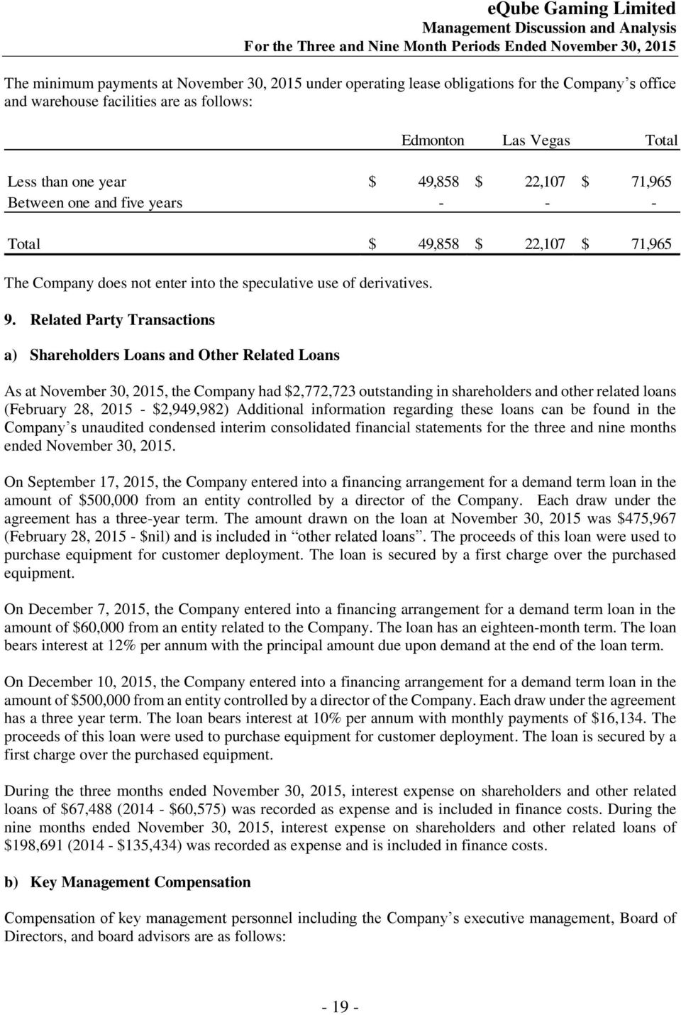 Related Party Transactions a) Shareholders Loans and Other Related Loans As at November 30, 2015, the Company had $2,772,723 outstanding in shareholders and other related loans (February 28, 2015 -