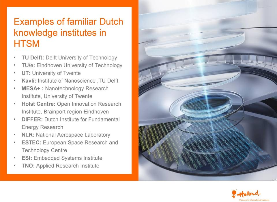 Centre: Open Innovation Research Institute, Brainport region Eindhoven DIFFER: Dutch Institute for Fundamental Energy Research NLR: