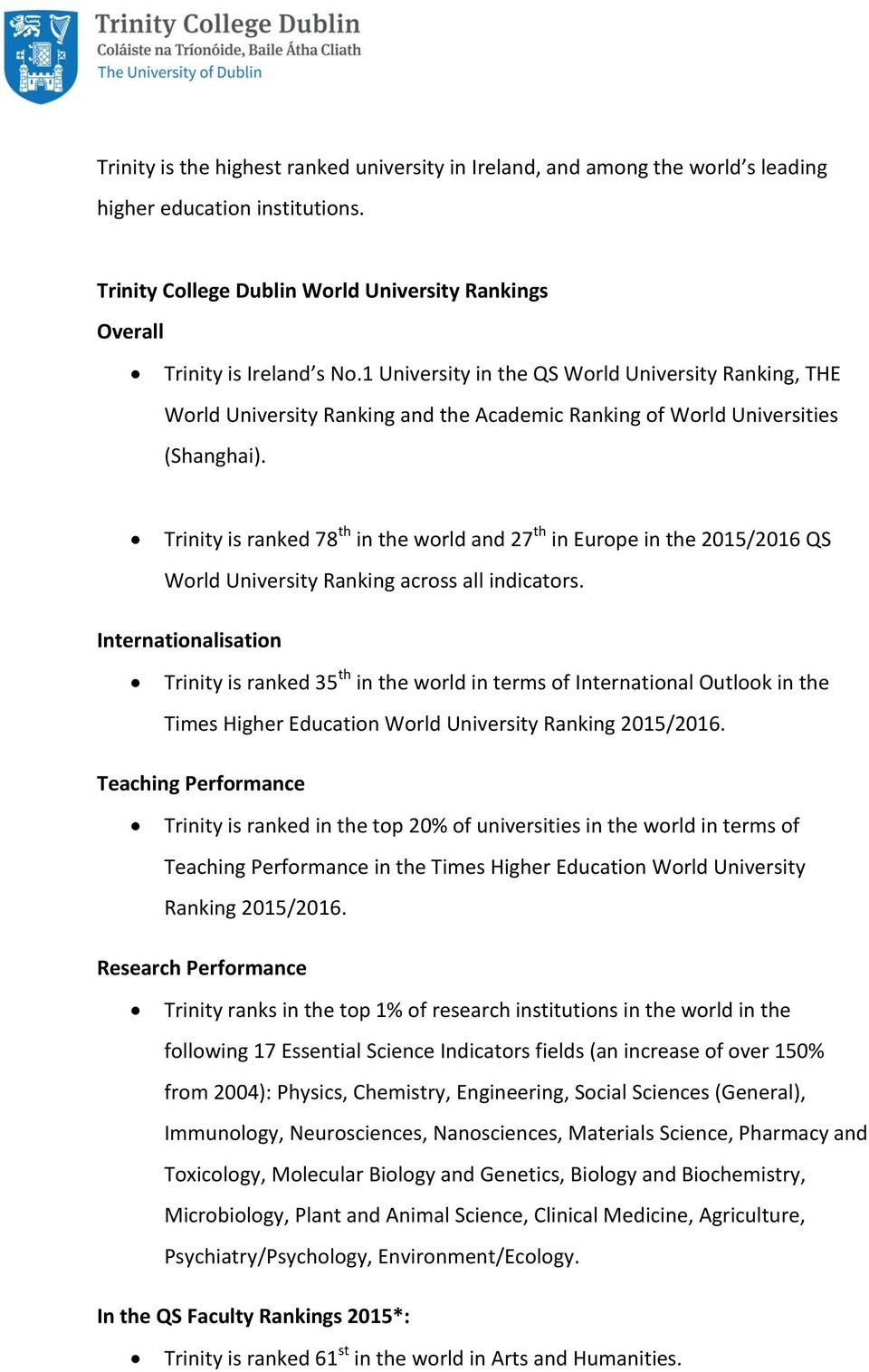 Trinity is ranked 78 th in the world and 27 th in Europe in the 2015/2016 QS World University Ranking across all indicators.