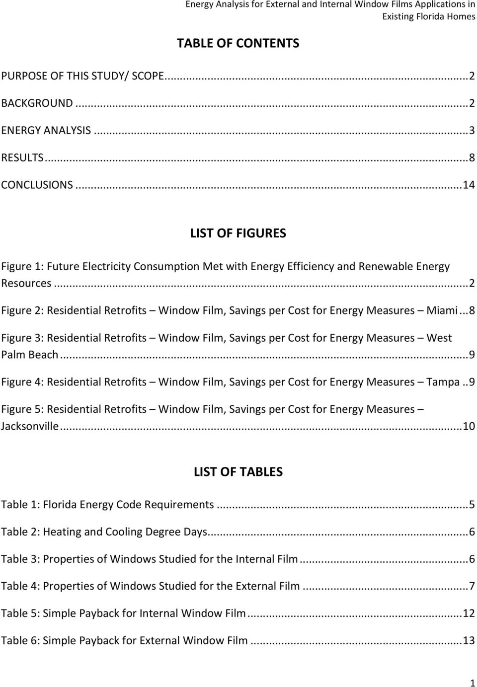 .. 2 Figure 2: Residential Retrofits Window Film, Savings per Cost for Energy Measures Miami... 8 Figure 3: Residential Retrofits Window Film, Savings per Cost for Energy Measures West Palm Beach.