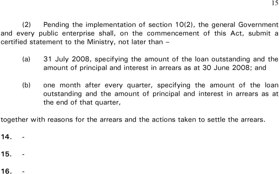 interest in arrears as at 30 June 2008; and one month after every quarter, specifying the amount of the loan outstanding and the amount of principal