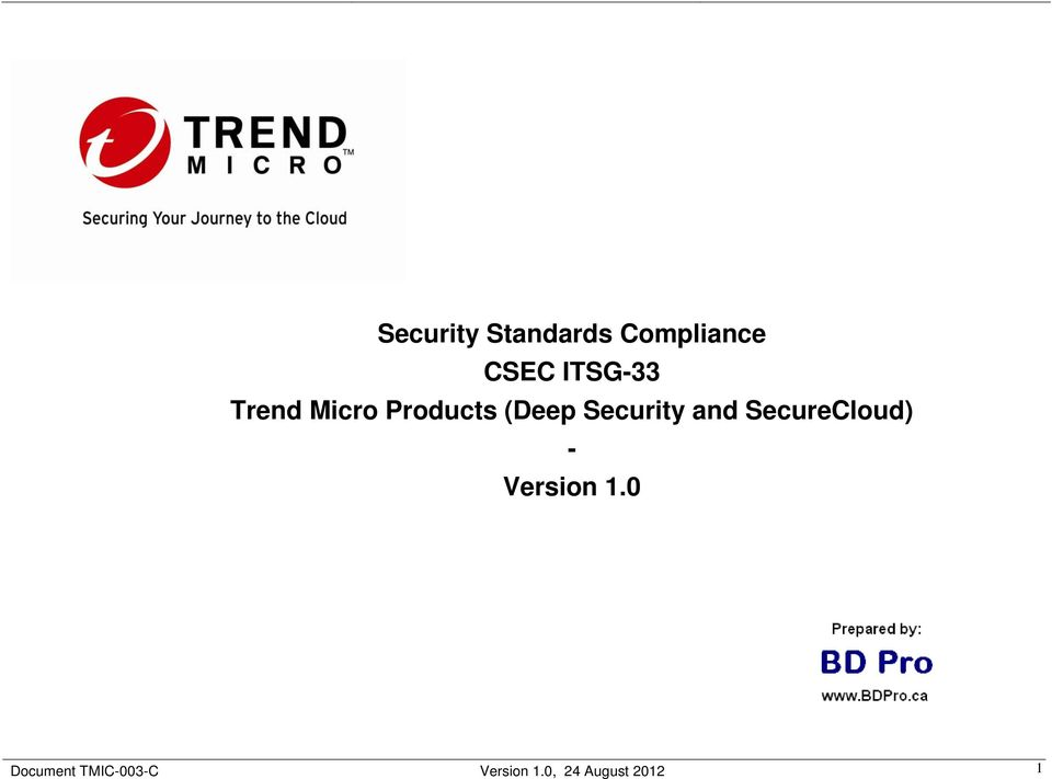 Security and SecureCloud) - Version 1.