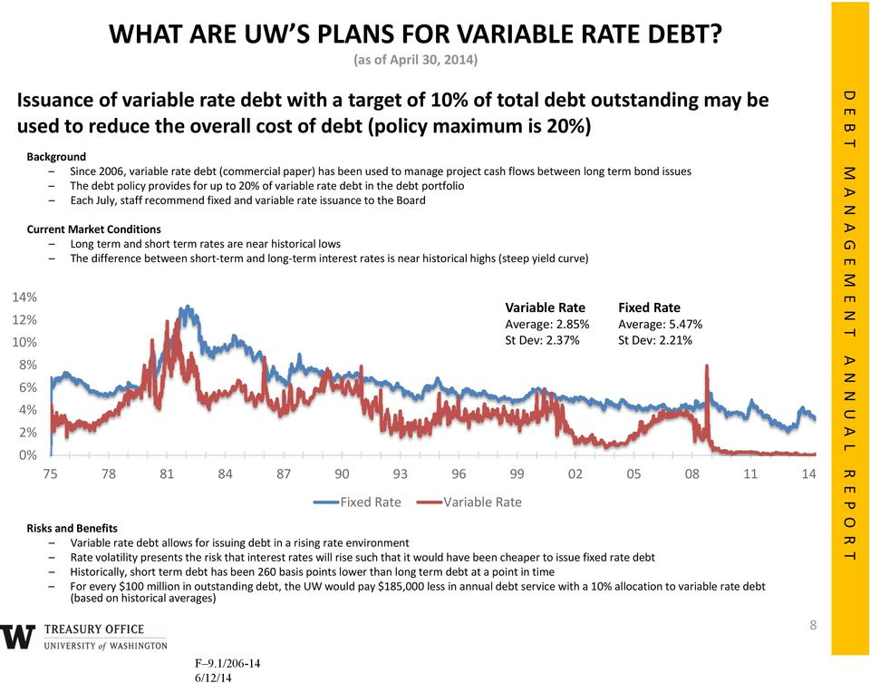 Since 2006, variable rate debt (commercial paper) has been used to manage project cash flows between long term bond issues The debt policy provides for up to 20% of variable rate debt in the debt