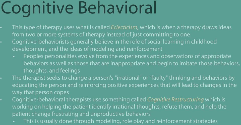 "observations of appropriate behaviors as well as those that are inappropriate and begin to imitate those behaviors, thoughts, and feelings The therapist seeks to change a person's ""irrational"" or"