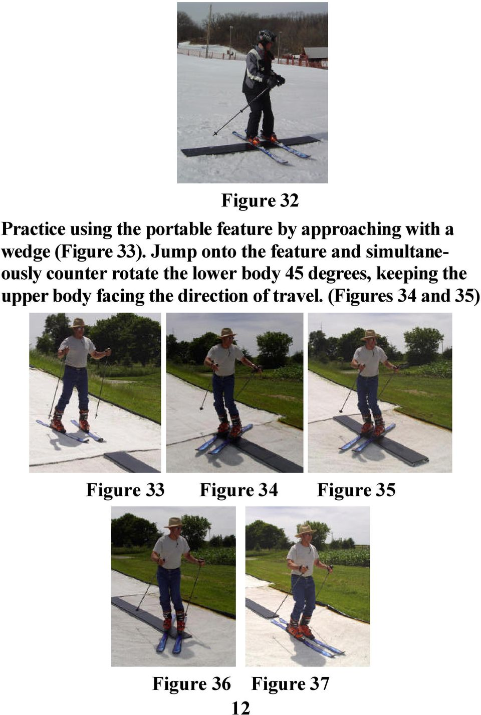 Jump onto the feature and simultaneously counter rotate the lower body 45