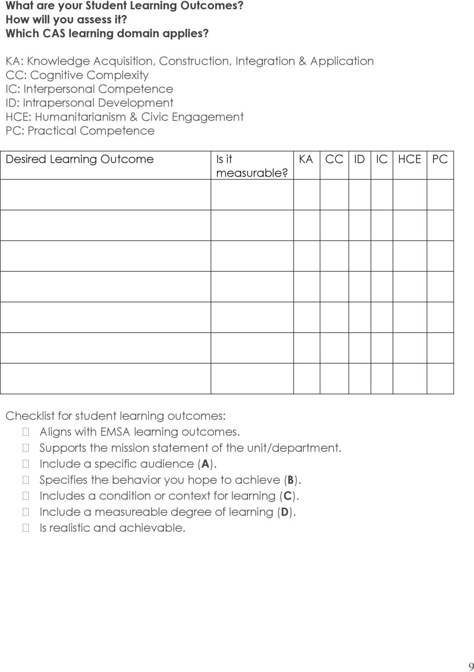 Engagement PC: Practical Competence Desired Learning Outcome Is it measurable? KA CC ID IC HCE PC Checklist for student learning outcomes: Aligns with EMSA learning outcomes.