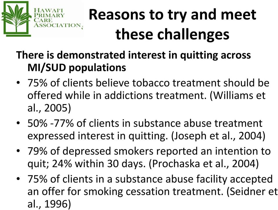 , 2005) 50% 77% of clients in substance abuse treatment expressed interest in quitting. (Joseph et al.