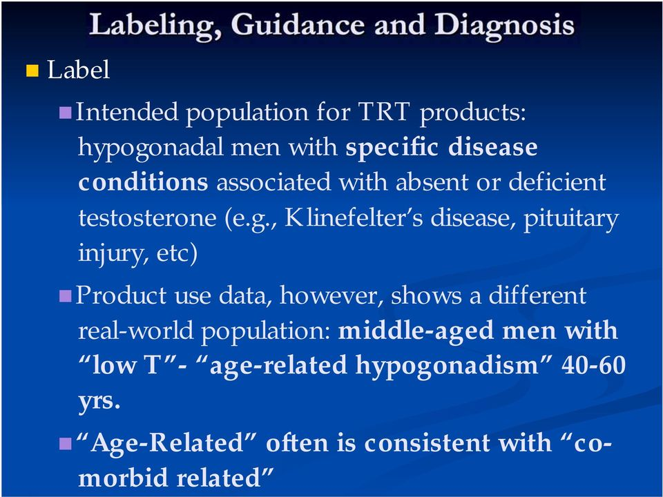, Klinefelter s disease, pituitary injury, etc) Product use data, however, shows a different real-world