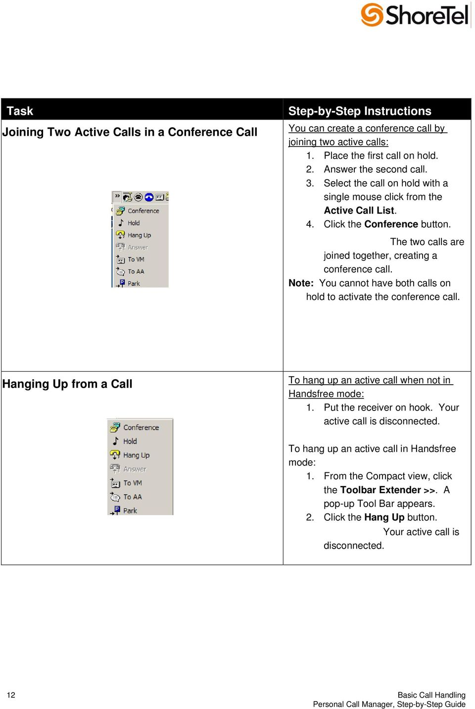 Note: You cannot have both calls on hold to activate the conference call. Hanging Up from a Call To hang up an active call when not in Handsfree mode: 1. Put the receiver on hook.