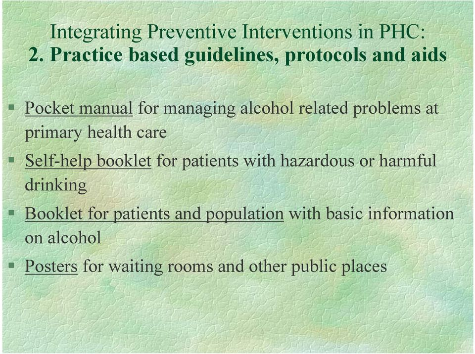 patients with hazardous or harmful drinking Booklet for patients and