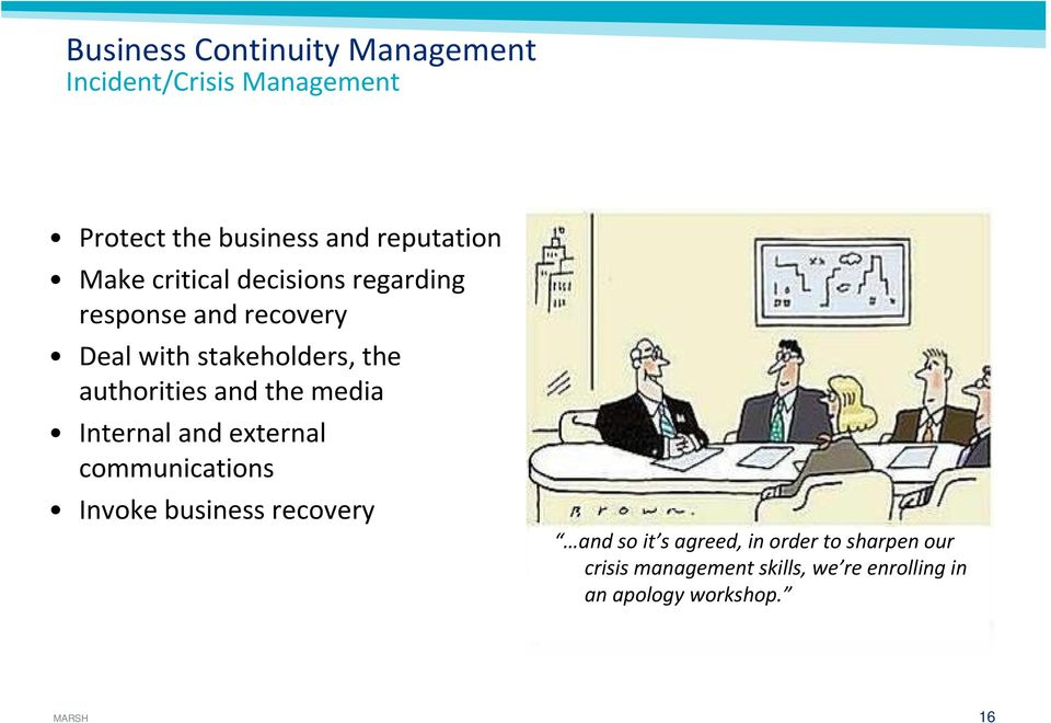 authorities and the media Internal and external communications Invoke business recovery and so