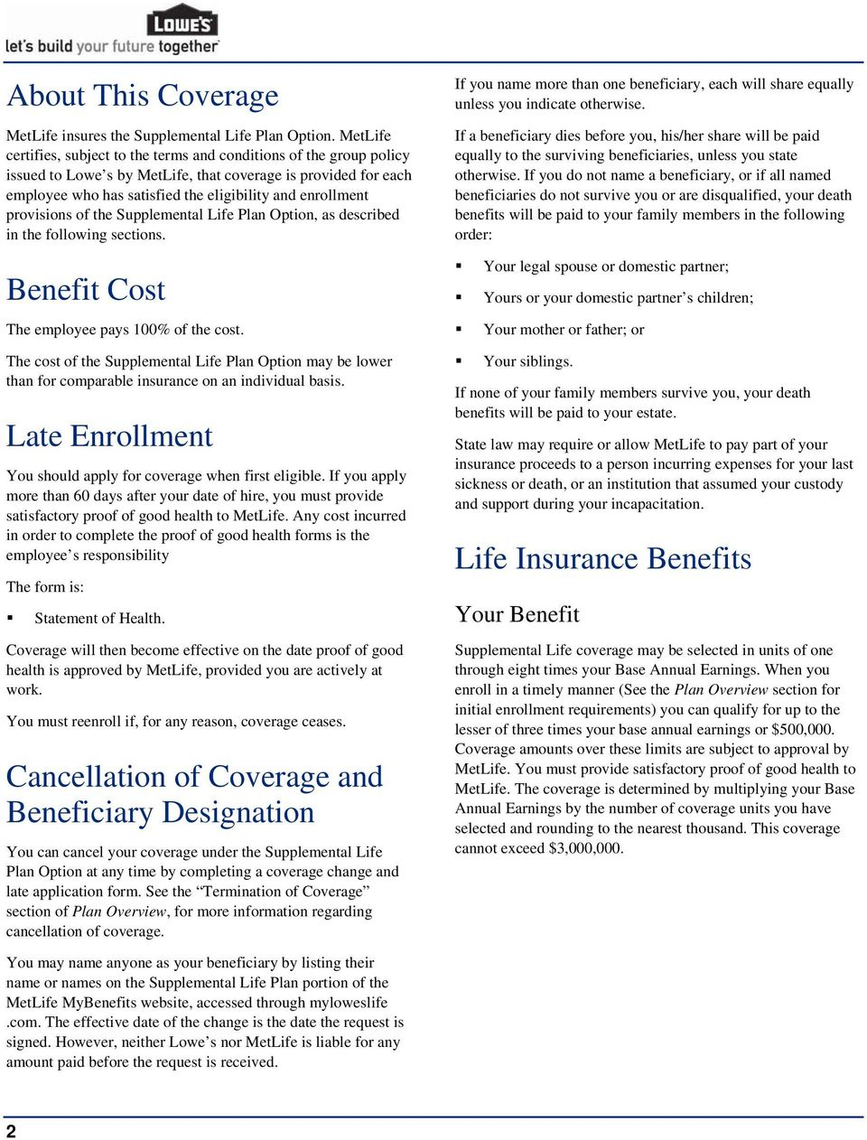 provisions of the Supplemental Life Plan Option, as described in the following sections. Benefit Cost The employee pays 100% of the cost.