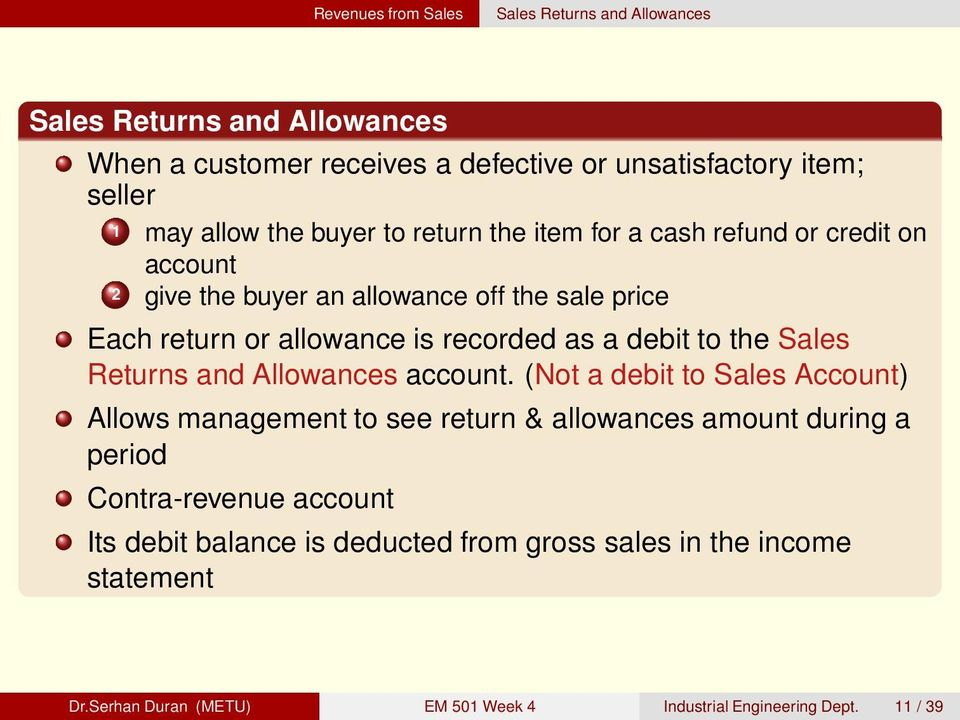 debit to the Sales Returns and Allowances account.