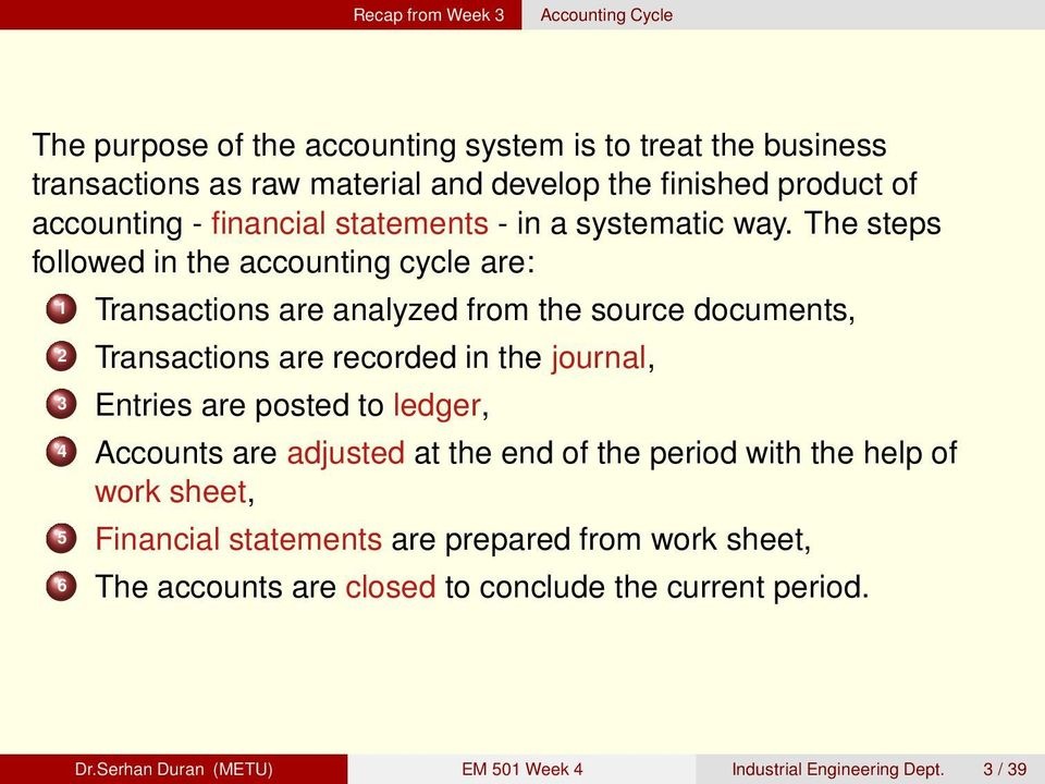 The steps followed in the accounting cycle are: 1 Transactions are analyzed from the source documents, 2 Transactions are recorded in the journal, 3 Entries are