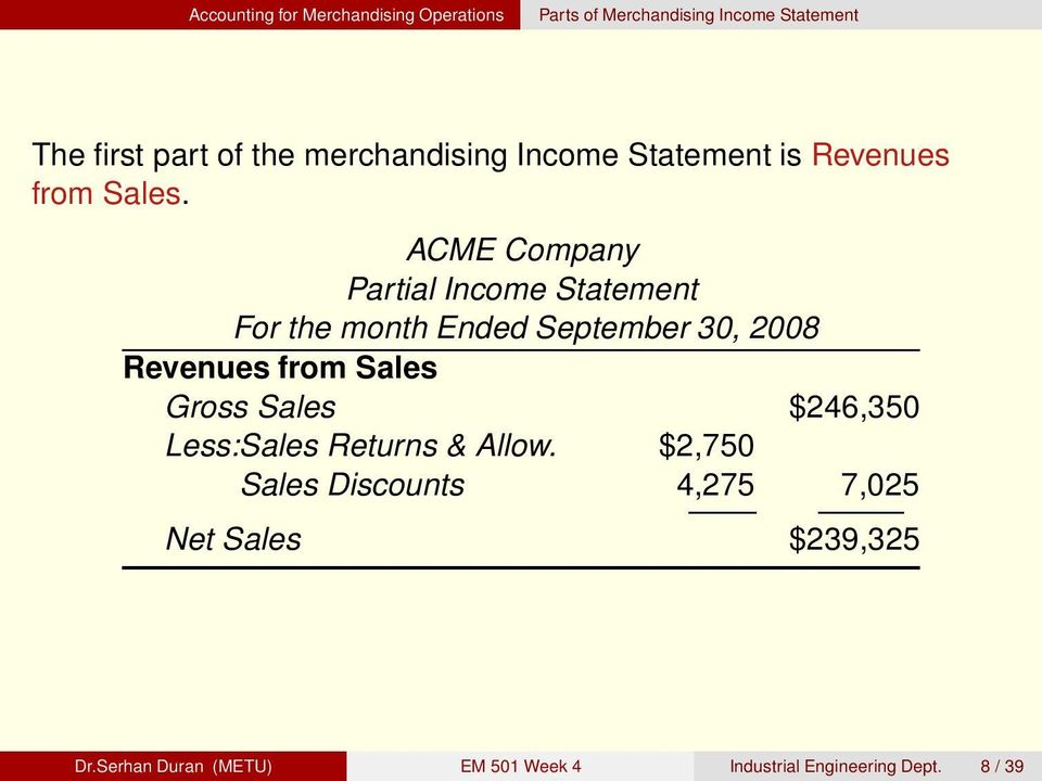 ACME Company Partial Income Statement For the month Ended September 30, 2008 Revenues from Sales Gross