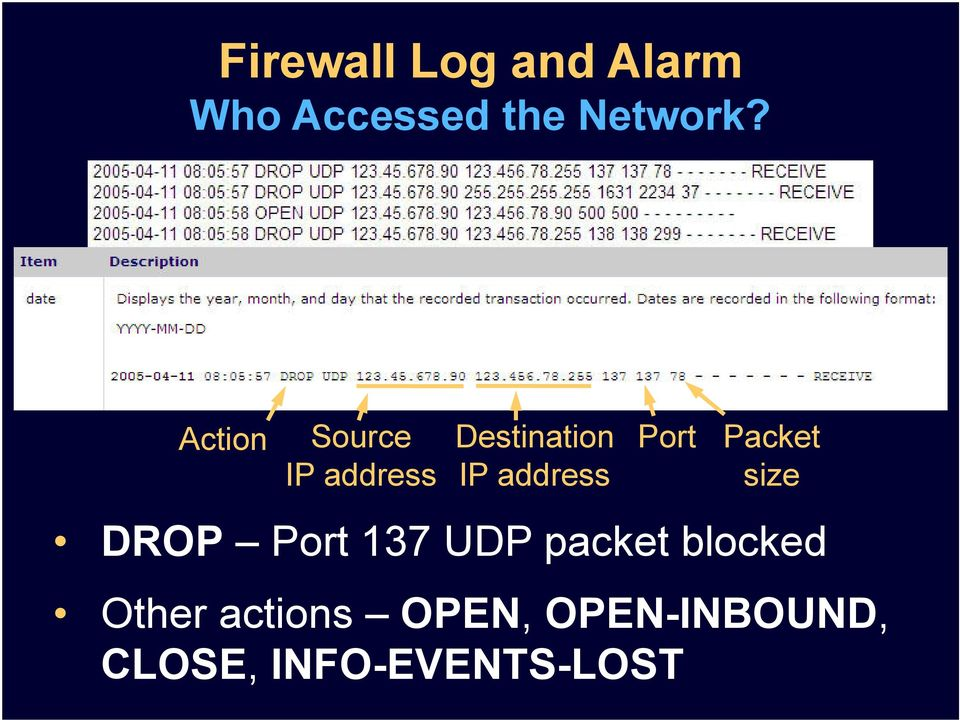 Port Packet size DROP Port 137 UDP packet blocked
