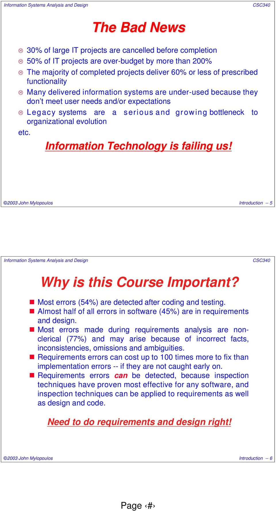 Information Technology is failing us! 2003 John Mylopoulos Introduction -- 5 Why is this Course Important? Most errors (54%) are detected after coding and testing.