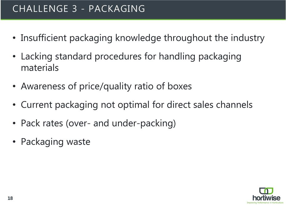 Awareness of price/quality ratio of boxes Current packaging not optimal